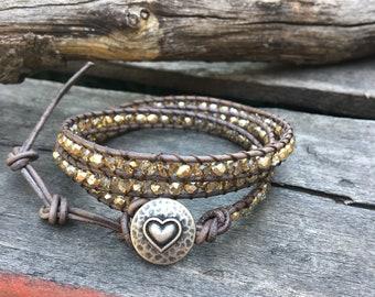 Leather Beaded Wrap, Beaded wrap bracelet, Chan Luu Style Wrap Bracelet, Women's Wrap Bracelet, Boho wrap, African Turquoise wrap bracelet/