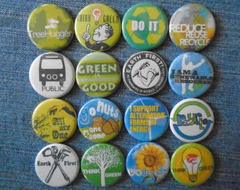 """Tree hugger 1.25"""" Pin back buttons Set of 16 Different Eco-activism Earth First Badges great for Earth Day, Hippies,  activists, gift set"""