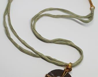 glass flower grey green Necklace