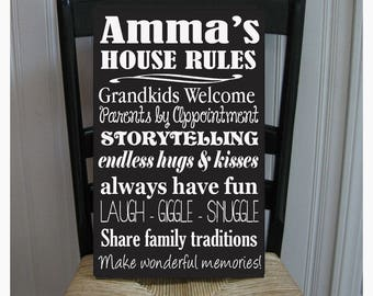 Amma House Rules for Grandchildren with love Grandmother  Handpainted Wood Sign 16 x 10.5