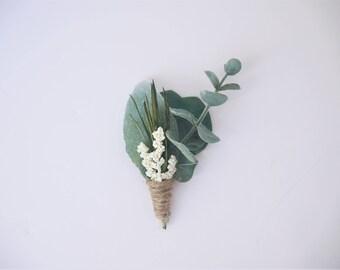 Romantic Eucalyptus Boutonniere | Eucalyptus, Lambs Ear, Greenery, Twine | Groom Buttonhole | Greenery Boutonniere