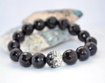 SALE Statement Bracelet Black Agate Bracelet Shamballa Bracelet Black Bead Boho Bracelet Statement Jewelry