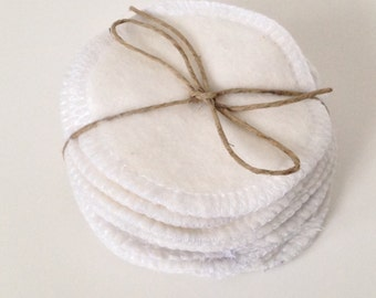 Reusable Cotton Rounds, Set of 10 Washable Organic Bamboo Cotton Makeup Remover Pads, Facial Cleansing Rounds, Facial Poufs, Toner Pads,
