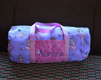Personalized Sparkly Ballerina Bag or Overnight Bag  with Pocket