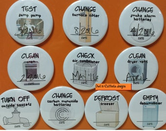 Home Maintenance Magnets-buy 5 get one free! reminders, maintenance, safety, cleaning, organize, adult chore magnets