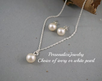 Bridesmaid necklace earrings set, Ivory white jewelry set, Bridal party gift, Swarovski pearls, Sterling silver Pearl studs pendant necklace