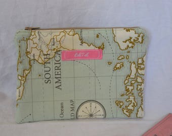 Clutch bag with world map