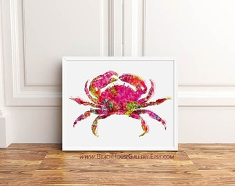 Crab Wall Art, Crab Print, Pink Wall Art ,Marine Life, Sea Life Print, Crab Posters, Palm Beach Chic, Tropical Wall Art, Beach House Decor