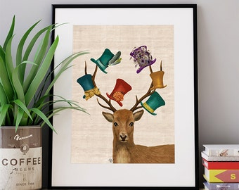 The Hat Collector - Mad hatter art print deer art print deer wall art deer print home decor wall decor wall hanging alice wonderland poster