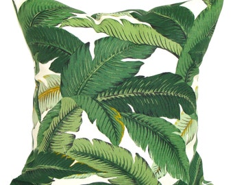 Outdoor Green Pillow Cover, Green Pillow, Leaf Pillow, Decorative Pillow, OUTDOOR Pillow, Accent Pillow, Cushion, Tommy Bahama Pillow, cm