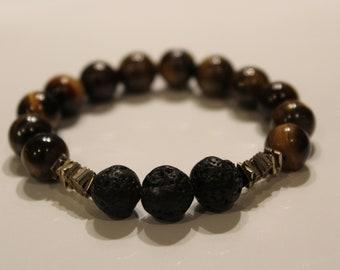 Custom Tigers Eye Lava Bead Bracelet