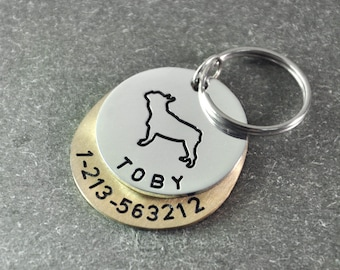 Free shipping  - French Bulldog  tag - Personalized dog tag - hand stamp dog tag - Identification Tag  - dog ID tags