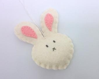 Easter decoration - Felt rabbit ornament  - handmande felt bunny - Decoration for Spring - Nursery -  Baby shower - eco friendly