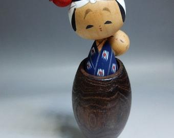 "Japanese vintage Artist Usaburo signed Lullaby kokeshi wooden doll H18cm 7"""