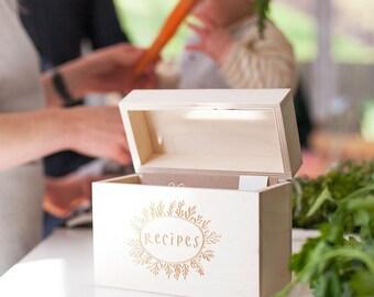Kitchen Recipe Box - Wooden Recipe Box - Recipe Card Box - Recipe Cards - Farmhouse Kitchen - Shabby Chic - Rustic Kitchen - Boho Decor
