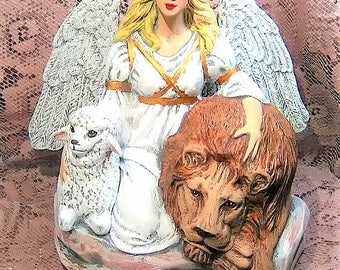 Ceramic Angel, Peace Angel, Lion and Lamb, Christmas Angel, Christmas Ceramics, Angel, Christmas Decor, Angel Figurine