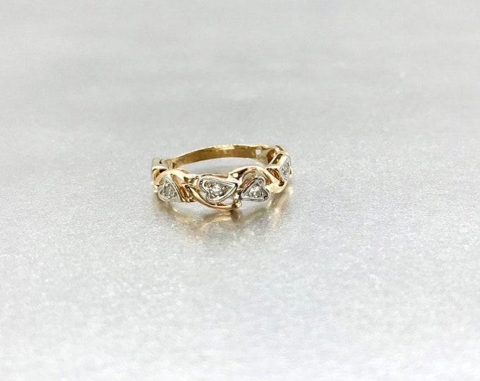 14 Karat Yellow and White Gold Diamond Wedding Band, Vintage Diamond Wedding Band, Diamond Band Promise Ring, Vintage Promise Ring