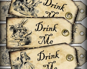 Drink Me Alice in Wonderland Printable Digital Favor Tags Instant Download