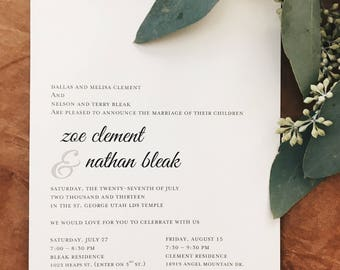Elegant Classic Black & White Wedding Invitation
