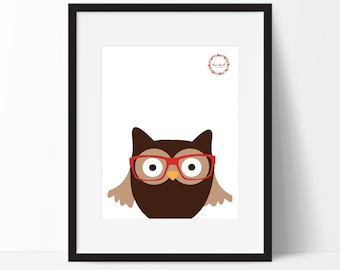 Hipster Woodland Owl Wall Print_0046WP