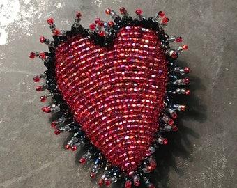 Beaded Raspberry sparkle Heart brooch