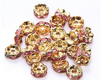10-pcs-Pearl wave rondelle spacer 8 mm Golden gold metal rhinestone Pink 8mm