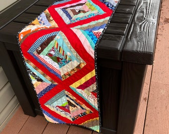 Scrappy handmade quilted table runner - extraordinarily long!