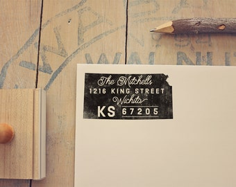 Kansas Return Address State Stamp, Personalized Rubber Stamp
