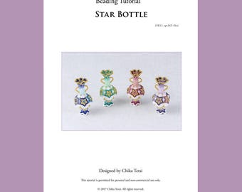 PDF beading pattern, beaded bottle, star christmas ornaments, gift ideas, seed bead tutorial, ept365-1