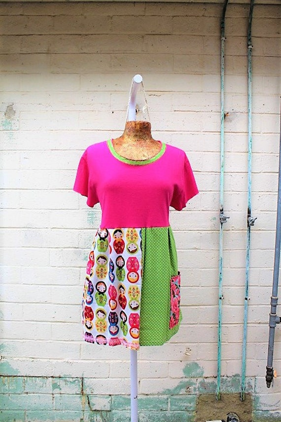 Large Matryoshka Babydoll Dress/Upcycled Clothing/School teacher Dress/Kindergarten teacher Dress/Church Camp dress/Pink Doll Dress/child
