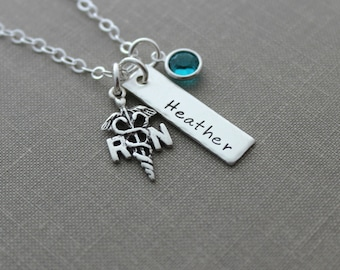 RN Nurse Name Necklace - Sterling silver with birthstone - personalized - LPN - RN or caduceus available - Nurses week Gift idea