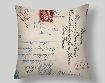 Red  Script  Pillow, Pillow Cover , Decorative Pillows, Navy,   Postscript Graphite , Accent Pillows , Throw Pillows,