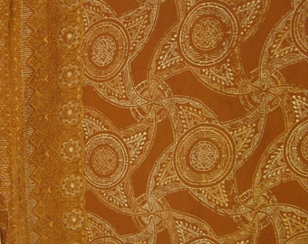 "Toffee Brown & White Super Opulent Java ""Embroidery"" Cotton Fabric, 46"" x 2 7/8 YDs"