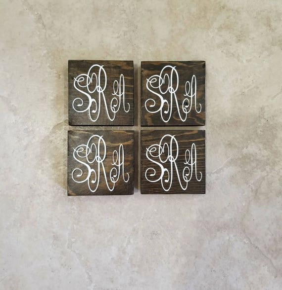 lettering on wood wood coasters monogram coasters monogram wood coasters 7302