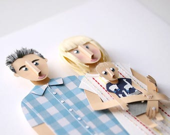 Custom Family Portrait Made From Paper.