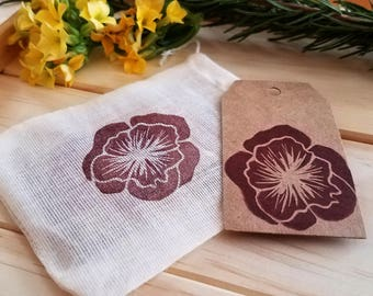 Flower Gift Tags   set of 10, handmade Kraft gift tag, gift wrapping, packaging