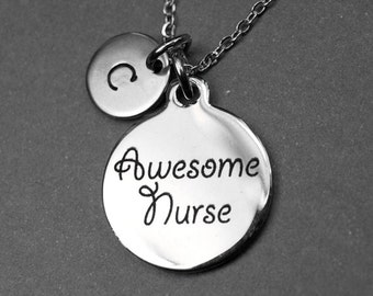Awesome Nurse Necklace, Awesome nurse Charm, Nurse necklace, nurse jewelry, Initial Necklace, Gift for Her, Nurse Gift, personalized charm