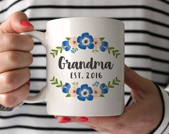 Grandma Gift Pregnancy Announcement Pregnancy Reveal to Grandma Mug New Grandma Gift Blue Grandparents New Grandma to Be Gift Coffee Mug
