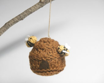 Bee Hive Ornament, Bee Ornament, Miniature Bee, Knit Bee Hive, Pin cushion, Micro Bee, Fiber Sculpture, Miniature Bug Collection