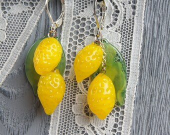 Lemon statement lampwork earrings, glass lemon earrings, yellow earrings, fruit earrings, nature earrings, green earrings, citrus earrings