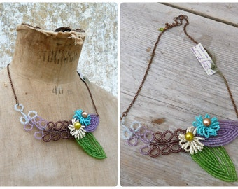 Floral necklace Antique French beaded flowers assemblage Handmade in France