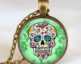 Sugar Skull Pendant, Sugar Skull Necklace, Day of The Dead Necklace,Antique bronze pendant, handmade pendant, sugar skull jewelry