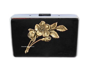 RFID Metal Wallet with Victorian Flowers Inlaid in Hand Painted Black Enamel Atique Gold Art Nouveau Botanical Credit Card Case Personalized