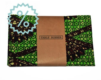 SALE! - Table Runner - Wax Print Green - 25% OFF!