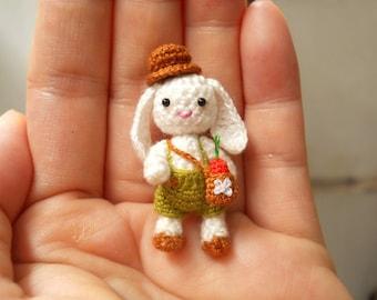 Bunny Rabbit Boy - Miniature Crochet Bunny Amigurumi Doll - Made To Order