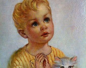 105G Kroger:  Boy Praying Litho in U.S.A. Florence Kroger Cardboard Size 8 x 10 D.A.C N.Y.