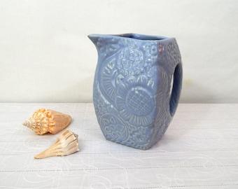 Vintage Niloak Ceramic Pitcher, Blue Embossed Vase, Arkansas Pottery