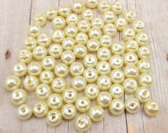 6mm Glass Pearls - Ivory - 75 pieces - Off-White - Wedding