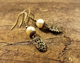 Filigree Earrings, 2 inches, Pearl Earrings, Victorian Style Earrings, Bronze Earrings