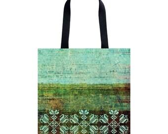 Tote bag Shopping bag Shopping tote Martket bag Green Handbag Shoulder bag Brown tote Green tote Pattern tote bag